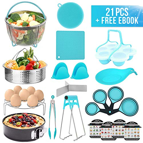 22 Pieces Pressure Cooker Accessories Set, Compatible with Instant Pot 6,8 qt ,Steamer Basket,Silicone Mitts and Mats,Springform Pan,Egg Rack,Bites Mold,Spoon Holder,Plate Clip,Cheat Sheets