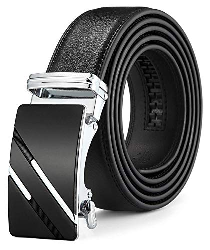 Mens Ratchet Slide Belts Leather Automatic Buckle - Black,137-M