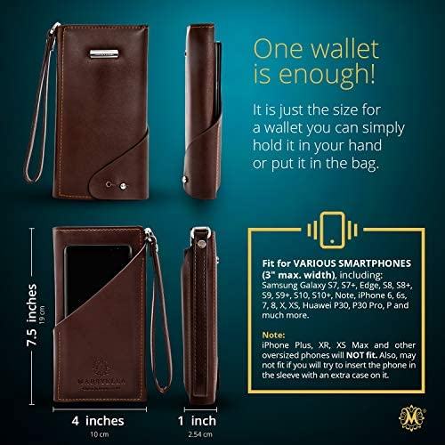 AllinOne RFID Wallet for Women with Wrist Strap  Credit Card  Passport Holder for Women  Large Brown