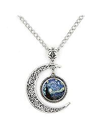 LIAOWY Half Moon Necklace Starry Night Pendant Vincent Van Gogh Art Handmade Jewelry