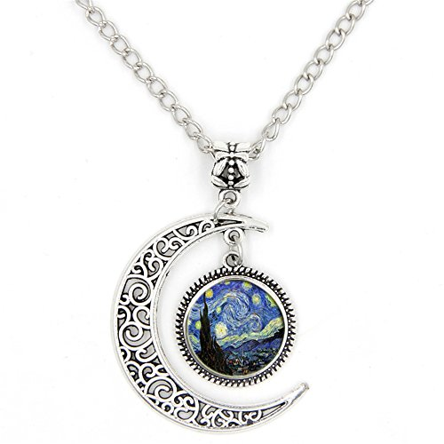 LIAOWY Half Moon Necklace Starry Night Pendant Vincent Van Gogh Art Handmade Jewelry