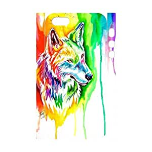Qxhu Rainbow wolf Hard Plastic Back Protective case for Iphone5,5S 3D case