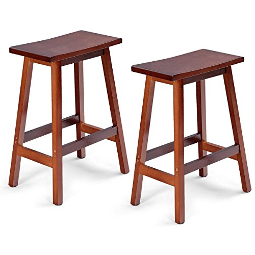 COSTWAY Saddle Seat Bar Stools Set of 2 Wood Vintage Counter Height Barstools Wood Bistro Dining Kitchen Pub Chairs (Walnut, 24