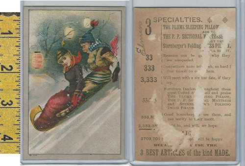 Victorian Card, 1890's, Plum Pillow, Two People on Sled ()