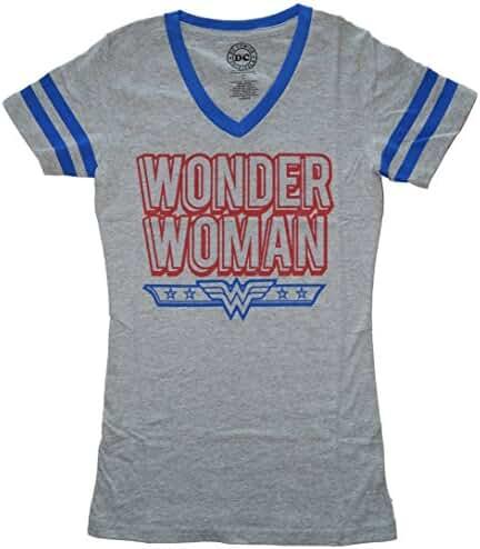 Dc Comics Wonder Woman Blue Logo Juniors V-Neck T-shirt
