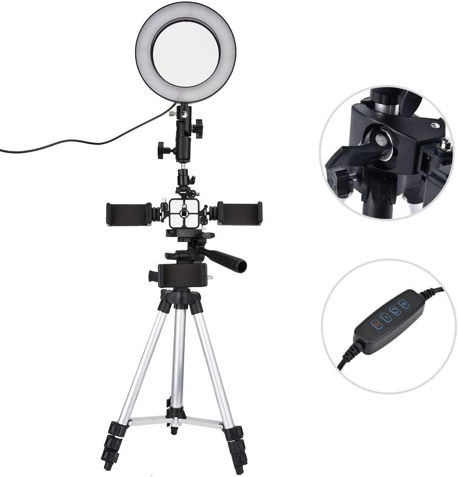 Taidda LED Ring Round Fill Light Mini Dimmable 16cm Ring Soft Light Set 5500k for Photography Still Life Fill Light Beauty Live Photography Camera