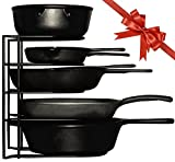 Extreme Matters Heavy Duty Pan Organizer - Bottom Tier 1 Inch Taller for Larger Pans - No Assembly Required - Black