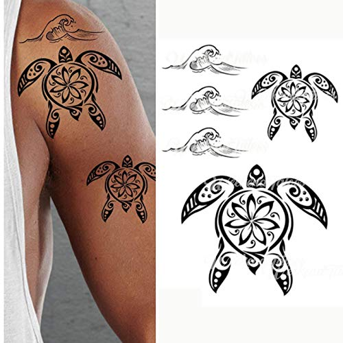 Stick on Black Temporary Tattoo Maori Tribal Body Art Sticker Transfer for arms Shoulder Aztec Polynesian Samoan Hawaiian for Adult Men and Women (Turtle Tattoo) -