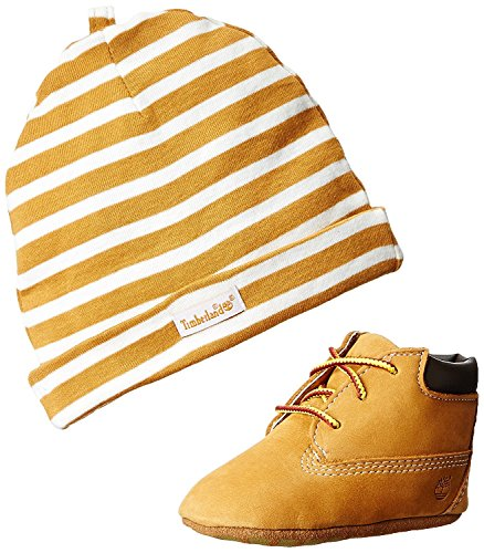 Timberland Baby Boy's Crib Shoes Bootie Wheat Soft Bottom 9589R Gift Set (2 Baby) (Infant Boots Timberland)