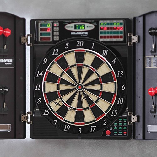 Electronic Dart Board Set With Cabinet- Home Bar Den Playroom Perfect Indoor Entertainment Family, Kids- Best Rated Seller 38 Exciting Games Digital LED Scoreboard Soft Tip Or Steel Darts Endless Fun