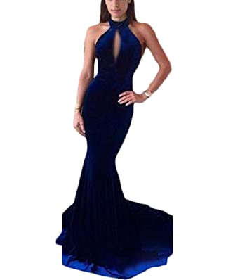 Ri Yun Sexy Halter Backless Velvet Royal Blue Long Mermaid Prom Dresses 2018 Formal Party Dresses