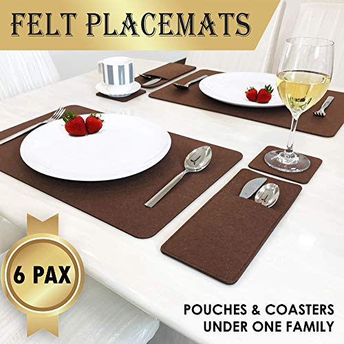 Set Of 6 Placemats For Dining Table - Includes 6 Table Placemats, Drink Coasters And Cutlery Pouch Holder - Protective Dining Table Mats And Dining Table Placemats - House Warming Gifts New Home