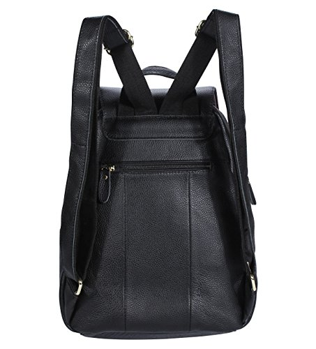 Women Casual B2 Black Leather Backpack M520 Bags Genuine Handbag VIDENG qCdYFqw