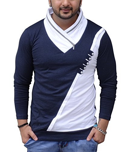 Black Collection Men's High Neck Solid T- Shirt With Zip On Neck