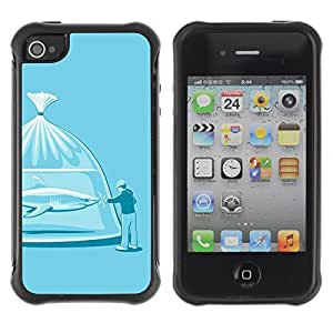 Hybrid Anti-Shock Defend Case for Apple iPhone 4 4S / Shark