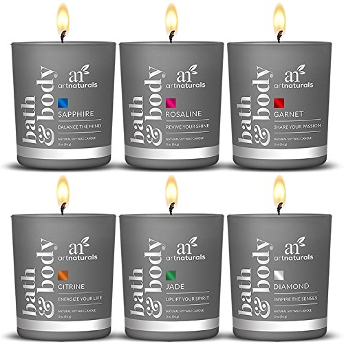 ArtNaturals Scented Candle Gift Set – 6 x 2 Oz / 60g  Aromatherapy Set of Fragrance Soy Wax  Made in USA with Essential Oils – for Stress Relief and Relaxation