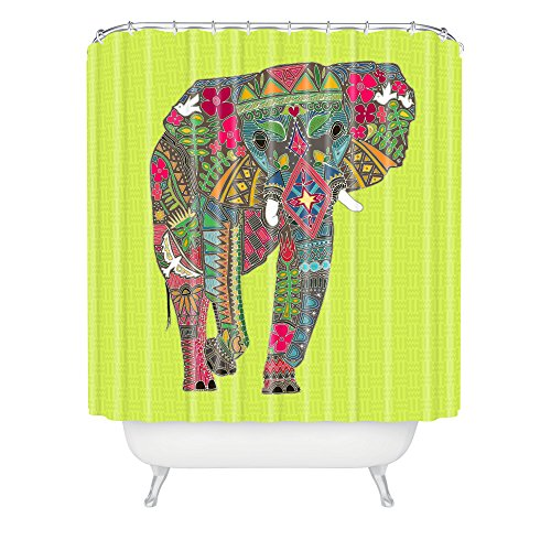 Deny Designs Sharon Turner Painted Elephant Chartreuse Shower Curtain , 69