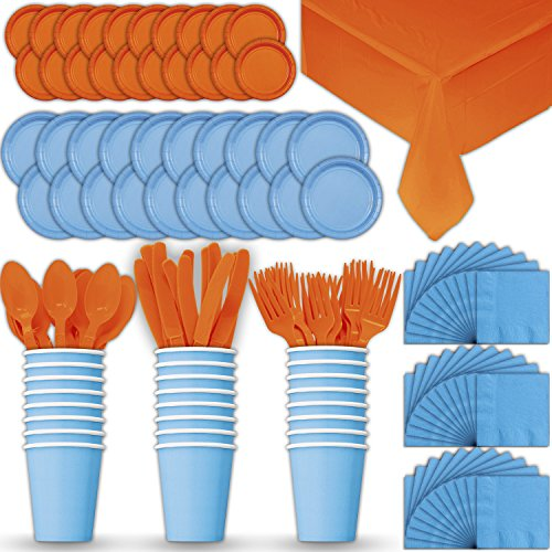 Paper Tableware Set for 24 - Light Blue & Orange - Dinner and Dessert Plates, Cups, Napkins, Cutlery (Spoons, Forks, Knives), and Tablecloths - Full Two-Tone Party Supplies Pack