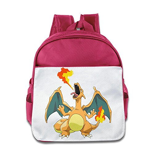 XJBD Custom Superb Dragon And Fire Boys And Girls School Bagpack Bag For 1-6 Years Old Pink