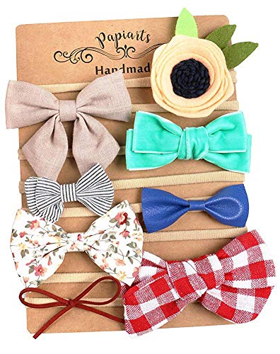Baby Girl Headbands and Bows, Newborn Photo Prop, Assorted 8 Packs of Hair Accessories for Girls ()