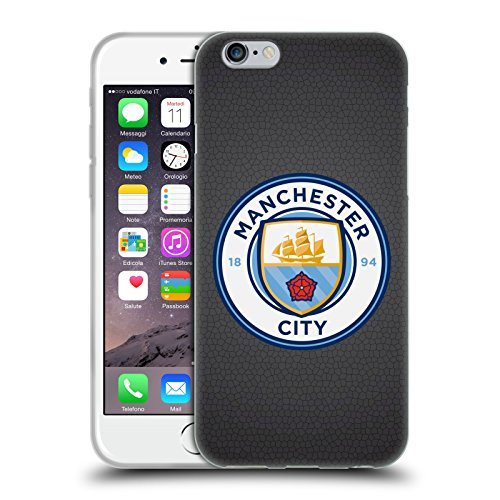 Official Manchester City Man City FC Black Mosaic Full Colour Badge Pixels Soft Gel Case for iPhone 6 / iPhone 6s