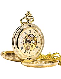 Antique Mens Pocket Watch Skeleton Mechanical Half Hunter Golden Case Roman Numerals