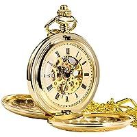 TREEWETO Antique Mens Pocket Watch Skeleton Mechanical Half Hunter Golden Case Roman Numerals