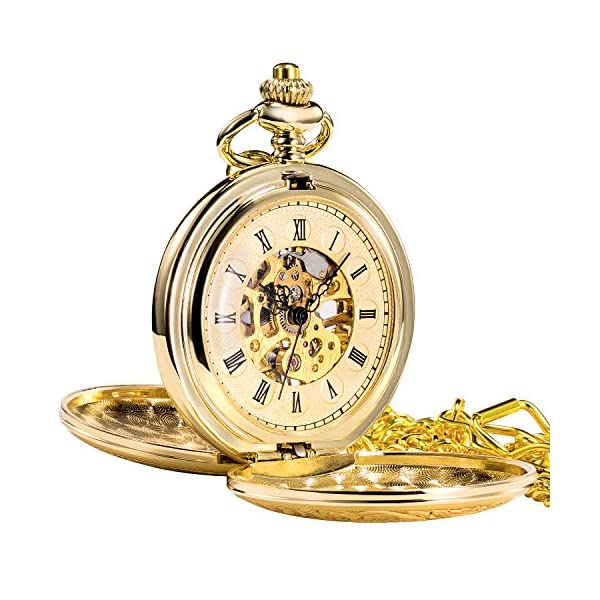 TREEWETO Antique Mens Pocket Watch Skeleton Mechanical Half Hunter Silver Golden Case Roman Numerals
