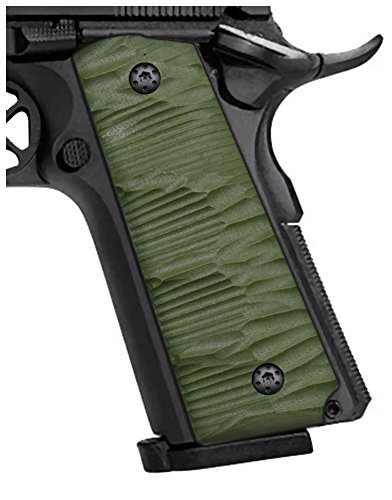 Cool Hand 1911 Grips, Finger Cut,Full Size(Government/Commander), G10,Ambi Safety Cut OD Green