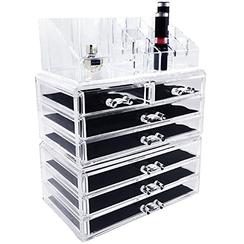 Ikee Design Acrylic Jewelry & Cosmetic Storage Display Boxes 3 Pieces Set