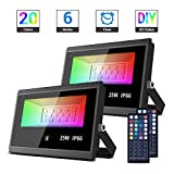 MustWin LED Flood Light Outdoor,25W RGB Color Changing Floodlight with Remote Control, IP 66 Waterproof, 20 Colors and DIY Colors 6 Modes for Landscape Garden Stage Lighting(2 Pack)