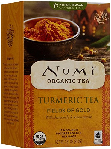 Numi Organic Tea Fields of Gold, 12 Count Box of Tea Bags, Turmeric Tea