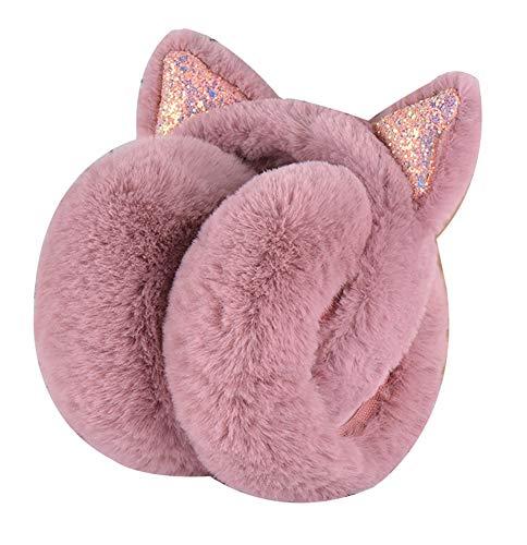 Epsion Women's Winter Warm Cat Ear Earwarmer Knitted Earmuffs for Girls Foldable (Cameo, Free)