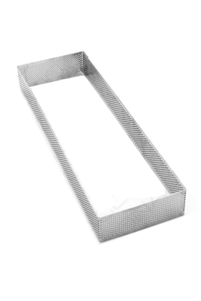 Pavoni Microperforated Stainless Steel Rectangular Tart Ring Height: 1.4'', 3.6''x11.6''