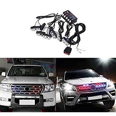 ATMOMO RED/Blue 16 LED Flashing Modes Car Truck Emergency Flash Dash Vehicle Strobe Light Lamp Bars Warning Dash Front Rear Grille: Automotive