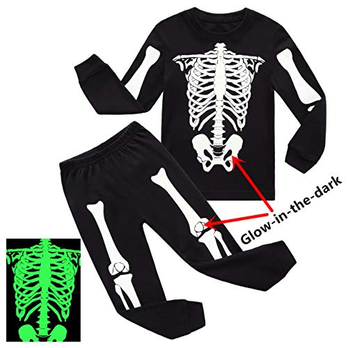 RKOIAN Little Boys Halloween Pajamas Sets Skeleton Glow-in-The-Dark Toddler Pjs Cotton Kids Sleepwears (2T, Black) -