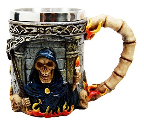 Atlantic Collectibles Day Of The Dead Holy Death Fire Grim Reaper With Scythe Beer Stein Tankard Coffee Cup Drink Mug -