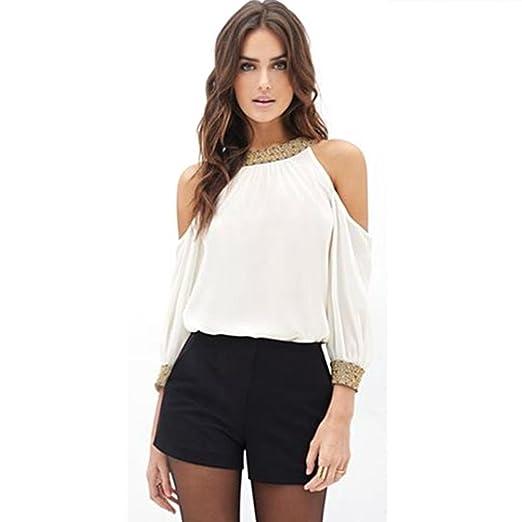 ee23b7544c9 Amazon.com  Sunward(TM) Women Long Sleeve Chiffon Off Shoulder Shirts   Clothing
