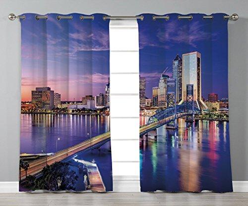 Stylish Window Curtains,United States,Jacksonville Florida Skyline Vibrant Night St. Johns River Scenic,Royal Blue Light Pink,2 Panel Set Window Drapes,for Living Room Bedroom Kitchen Cafe ()