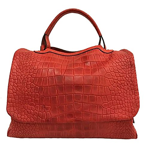 In Cuir x Couleur Paul la MEDIA Sac DRILLO Cuir 25 ESSE Main Main Sac ROUGE à 36 a x 18 Fait crocodile Artisanat Italy Sac à cm Bandoulière hide imprimé Made aYqxngw