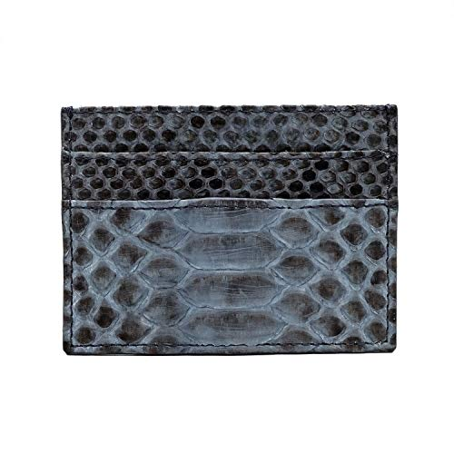 Genuine Grey Motif Python Leather Slim Card Holder with 4 Slots and 1 Open Compartment (Grey Python Leather)