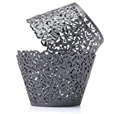 Product review for Sharing Star 100 Pieces Filigree Artistic Muffin Case Cupcake Paper Cup Liner Little Vine Lace Laser Cupcake Wrappers for Wedding Party Birthday Decoration (Deep Gray)