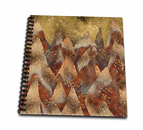 - 3dRose Uta Naumann Faux Glitter Pattern - Merry Christmas-Cool Trendy Copper Glitter Winter Forest and Mountains - Drawing Book 8 x 8 inch (db_269178_1)