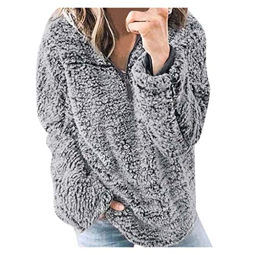 [해외]Redacel Women`s Sweatshirt Warm Long Sleeve Half Zipper Basic Fuzzy Fleece Pullover Soft Sweatshirt Coat / Women`s Sweatshirt Warm Long Sleeve Half Zipper Basic Fuzzy Fleece Pullover Soft Sweatshirt Coat Redacel (Gray,XL)