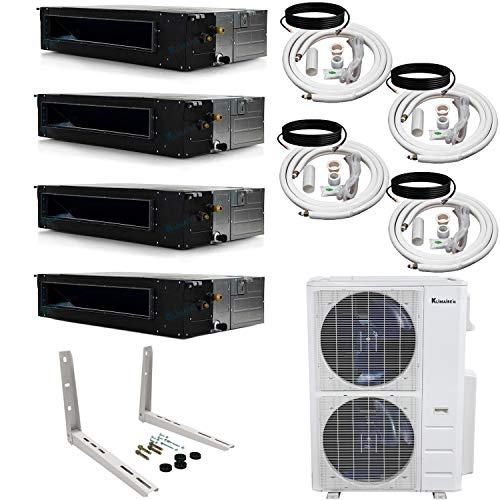 Klimaire 4-Zone (12K+12K+12K+24K) BTU 20.5 SEER Ducted Recessed Multi-Zone Inverter Air Conditioner Heat Pump with 25 ft. Installation Kits (208-230V)