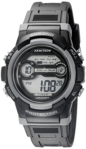 Armitron Sport Unisex 45/7064BLK Grey Accented Digital Chronograph Black Resin Strap Watch by Armitron Sport