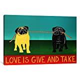 iCanvasART 1 Piece Love Is Give And Take Black Canvas Print by Stephen Huneck, 40 by 26''/1.5'' Deep