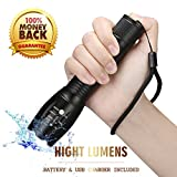 Tactical Flashlight Led Flashlights High Lumens,Portable Handheld Flashlight with Rechargeable Battery & USB Charger,5 Modes Tac light,Zoomable Waterproof Camping Flashlight for Kids,Outdoor,Emergency
