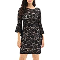 Noctflos Women's Bell Sleeves Full Lace Bodycon Cocktail Wedding Guest Dress
