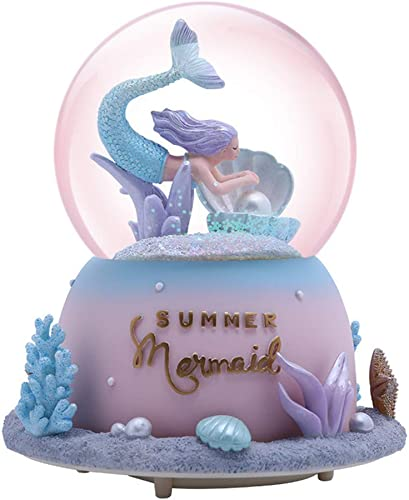 SURPRIZON Mermaid Snow Globe Musical Box with Colorful Lights Pearl, Shells, Coral, Plays Tune by The Beautiful Sea for Home D cor Christmas Birthday Gift